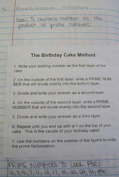 Math = Love: Prime Factorization using the Birthday Cake Method