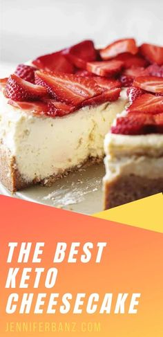 """This really is the best low carb and keto cheesecake recipe. Even my non-keto family proclaimed """"This is the best cheesecake I have ever had!"""" Desserts Keto, Sugar Free Desserts, Flourless Desserts, Dessert Recipes, Low Carb Deserts, Low Carb Sweets, Low Carb Cheesecake Recipe, Diabetic Cheesecake, Sugar Free Cheesecake"""