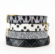 Black and white dog collars