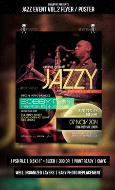 Jazz Event Flyer / Poster Vol.2 � Photoshop PSD #event flyer #jazz event � Available here ? https://graphicriver.net/item/jazz-event-flyer-poster-vol2/9387298?ref=pxcr