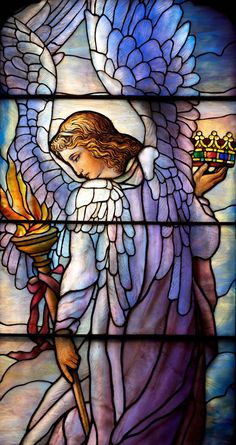 The Second Reformed Church of Hackensack, New Jersey, The Angel of Praise Stained Glass WIndow by Louis Comort Tiffany by angie Stained Glass Church, Stained Glass Angel, Stained Glass Windows, Tiffany Stained Glass, Tiffany Glass, I Believe In Angels, Church Windows, Angel Pictures, Angel Art