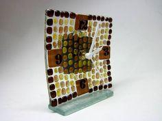 MINI Relógio em vidro colorido transparente / tons terra  Ponteiros e números pretos Parede 12 x 12 cm R$42,00
