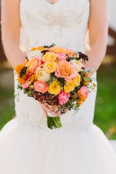 Fall Wedding Bouquet -- See the wedding on #SMP: http://www.StyleMePretty.com/2014/05/13/whimsical-elegant-autumn-wedding/ Photography: RedFieldPhoto.com -- Floral Design: SebestaDesign.com