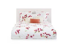 Loraine: 100% pure Egyptian cotton print. Combed and mercerized. Pillow cases with envelope closure. Shams with knife edge, zipper closure. Duvet covers with zipper closure. Inquire for pricing on flat and fitted sheets. Colors: grenade, cristal.