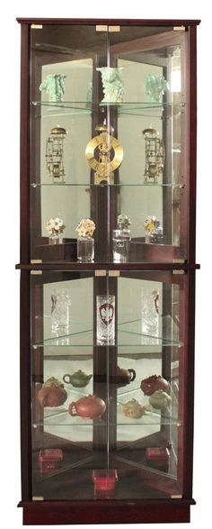 Cabinet Glass Shelves China Corner Tall Vertical Espresso Furniture Curio Light