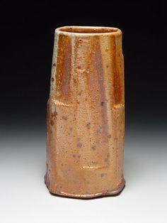 Lisa Hammond Stoneware, Pink Shino faceted Vase, 10 x 5 x 5