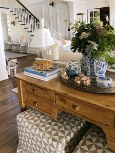 Sofa table decor with blue and white ginger jar, design books, glass hurricanes, vintage decir amd table lamp Ginger Jar Lamp, Ginger Jars, Sofa Table Decor, Table Decorations, Table Lamp, Sofa Tables, Sofa Table Styling, Table Stools, Entry Tables