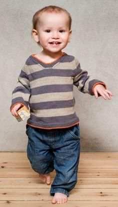 Da Famile Journal Il filo arancio rallegra il grigio delle righe,una realizzazione non semplicissima che metterà alla prova le vostre capacità: lavorare in tondo, riprendere le maglie, diminuzioni....