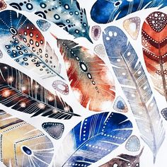Russian illustrator @vicky_od is a watercolor master. #feather #abstract #colorful #contrast #instamood #illustrator #illustration #instalike #art #artist #design #feather_perfection #russian #abstractart