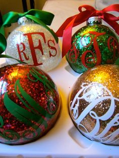 Glitter, Monogram Christmas Ornaments. I didn't think I'd get into these- but this picture sold me! I love the color and font combos!