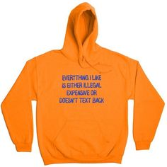 EVERYTHING I LIKE HOODIE (£26) ❤ liked on Polyvore featuring tops, hoodies, hooded pullover, orange hooded sweatshirt, hooded sweatshirt, drawstring top and hooded hoodie