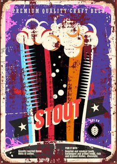 """Beer Styles Stout #Displate artwork by artist """"Mr. Jackpots"""". Part of a set featuring various craft beer styles. £35 / $50 (Medium), £71 / $100 (Large), £118 / $166 (XL) #Ale #Beer #Hefeweizen #IPA #Lager #Porter #Stout #Alcohol #Alcoholic #Beverage #Pub #Bar #CraftBeer #Brewer #Brewery"""