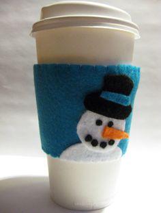 Snowman Felt Cup Sleeve. $6.00, via Etsy.