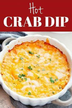 Hot Crab Dip - creamy and cheesy dip with crab meat, cream cheese and cheddar. Perfect appetizer for seafood fans! Hot Crab Dip - creamy and cheesy dip with crab meat, cream cheese and cheddar. Perfect appetizer for seafood fans! Seafood Dip, Seafood Appetizers, Appetizer Dips, Seafood Dishes, Appetizer Recipes, Hot Appetizers, Crab Dip Recipes, Seafood Recipes, Drink Recipes