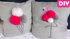 This DIY tutorial is about how to sew a pom pom pillow cover. The pillows feature ice cream and flamingos. Diy Pillows, Throw Pillows, Diy Tutorial, Easy Crafts, Pillow Covers, Kitten, Ice Cream, Crafty, Sewing