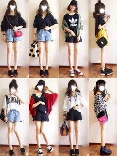 こんにちは! ショーパンコーデまとめ。 下段は未投稿コーデです! 今日も見ていただきありがとうござい Japan Fashion, Daily Fashion, Teen Fashion, Love Fashion, Korean Fashion, Fashion Outfits, Womens Fashion, Fashion Trends, Casual Outfits