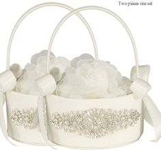 LAPUDA Two Pieces one Set, Flower Basket Series-Wedding Flower Basket, Flower Girl' Basket, Rhinestone Flower Basket Style HL0251 (Ivory)