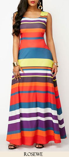 Sleeveless Pocket Round Neck Printed Maxi Dress