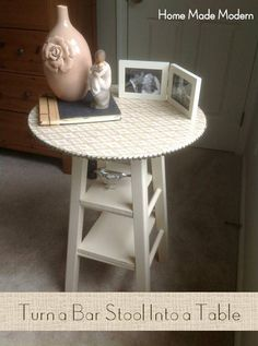 DIY Bar Stool Table- Awesome! I've been looking for something a little taller than a standard end table for the front room.