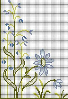 Cross stitch blue flowers designs