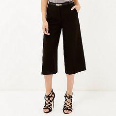 Black smart belted culottes