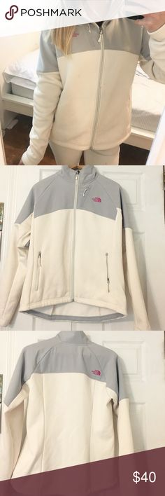 North Face Jacket North face jacket with grey and hot pink accents. Originally from the Breast Cancer Awareness line. Has a breast cancer ribbon on right arm sleeve. Has 3 pockets (one on each side and one at the top). Only worn once. Has been tucked away in my closet for over a year and don't see myself getting much wear out of it! Very warm inside -- still fluffy. Willing to negotiate price. North Face Jackets & Coats
