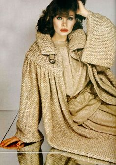 Christian Dior 1977 tan wool knit sweater coat jacket blouse skirt suit outfit designer late 70s era color photo print ad brown winter wear