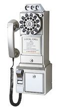 Crosley Classic CR56 1950's Pay Phone  Retro Telephone Brushed Chrome