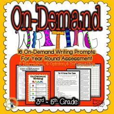 On-Demand Writing Prompt Set from Literacy Loves Company.  16 motivating prompts:  8 narrative, 4 opinion, 4 informative.  Prompts include connected quote, S.P.A.M., and writing guidelines checklist.  40+ pages of useful resources for the 3rd - 5th grade teacher! $