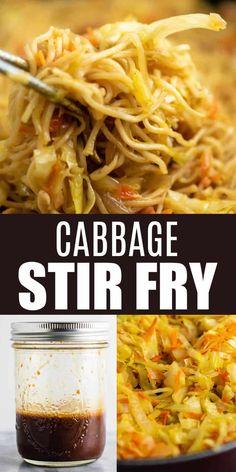 Stir Fry Recipes, Vegetable Recipes, Vegetarian Recipes, Cooking Recipes, Healthy Recipes, Noodle Recipes, Cabbage Stir Fry, Chicken And Cabbage, Fried Cabbage