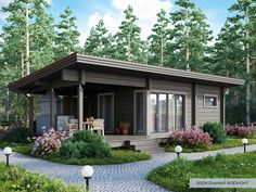 Modern Small House Design, Small Modern Home, Container Home Designs, Tiny House Cabin, House With Porch, Style At Home, Building A Shed Roof, Cute Small Houses, House Construction Plan