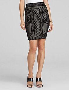 BCBGMAXAZRIA Josa Geometric Jacquard Skirt