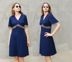 VINTAGE 1970's Blue Metallic mini cocktail Wiggle dress with golden lace Midnight blue party dress-vintage dress-navy vintage dress