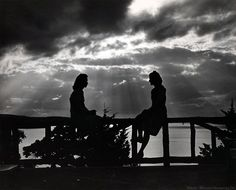 Two girls in the 1950s from the deck of Willmore Lodge.
