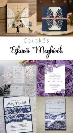 Csipkés esküvői meghívó | Pink & White Pink White, Catering, Gift Wrapping, Frame, Blog, Gifts, Wedding, Decor, Wedding Invitations