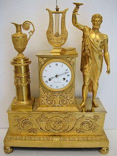 A Big French Empire Period C1800 Gilt,- Bronze Mantel Clock