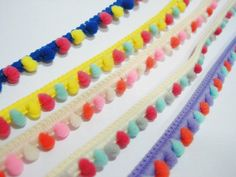 Multicolored Mini Pom Pom Trim Wide cm Pom pom size cm Length 1 yard/each color (Total 7 yards) 7 colors including: Blue Fun Projects, Sewing Projects, How To Make Headbands, Ribbon Jewelry, Purse Handles, Pom Pom Trim, Decorative Pillows, Craft Supplies, Mint
