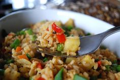 Pineapple fried rice.  I love pineapple.  I love fried rice.  Just needs some more veggies and some protein.