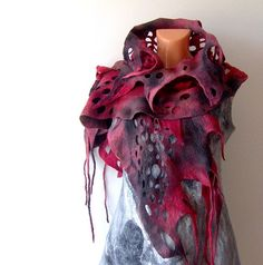 Felted scarf   ruffle  fringes red black vampire by galafilc, $69.00
