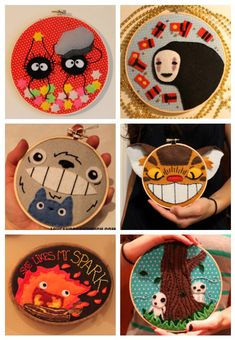 Studio Ghibli embroidery hoops. Soot Sprites, No-Face, Totoro, Catbus, Calcifer, and Kodamas!