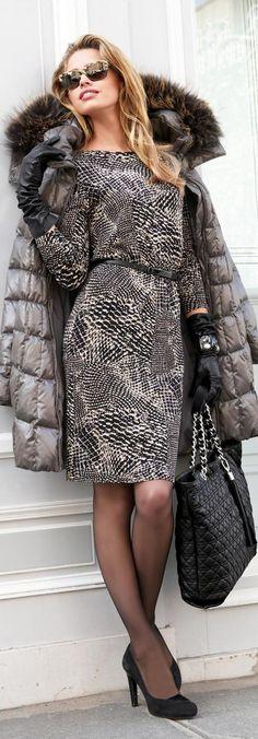 Warm coat with fur collar, stylish grey dress