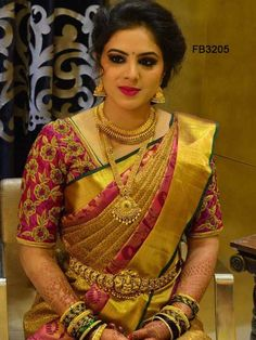 Traditional Pink Colored Soft Silk Saree with Matching Color silk Blouse. It contained of Printed. The Blouse which can be customized up to bust size This Unstitch Saree Length mtr including mtr Blouse. Indian Bridal Sarees, Wedding Silk Saree, Indian Designer Sarees, Indian Bridal Fashion, Indian Bridal Jewelry, Wedding Jewelry, Wedding Saree Blouse Designs, Pattu Saree Blouse Designs, Blouse Designs Silk