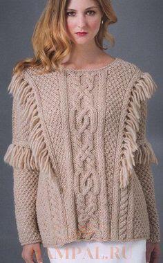 (+1) Пуловер с бахромой (Вязание спицами)
