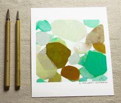 Art Print-Fine Art Print of Original Abstract Painting-8x10-Flowers-Modern Art Print-Abstract-Spa Green