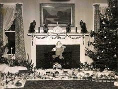Vintage Christmas Photograph ~ Fireplace Scene with Vintage Putz Display Old Time Christmas, Ghost Of Christmas Past, Old Fashioned Christmas, A Christmas Story, Christmas Trees, Christmas Decorations, Christmas Morning, Xmas Tree, Family Christmas