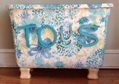 Easy Peasy DIY Toybox   Fabric (spray) Glued To Plastic Storage Bin And  Wooden