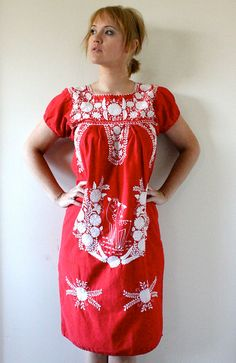 60's Woodland Embroidered Ethnic Dress
