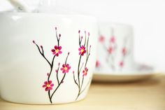 painted pottery ideas | Hand Painted Ceramic Sugar Bowl with spoon Cherry Tree…