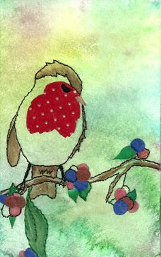 Robin red breast. Stitching, paper, water colour.