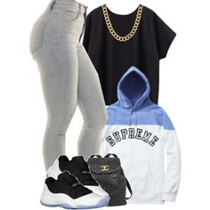 A fashion look from November 2014 featuring logo shirts, black short sleeve t shirt and light blue high waisted skinny jeans. Browse and shop related looks.